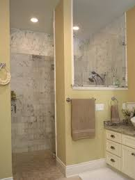 lovely small bathroom open shower bathroom designs yellow wall