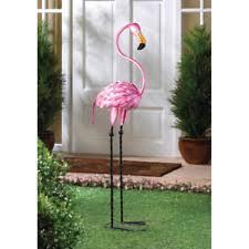 pink flamingo yard decoration garden statue metal backyard
