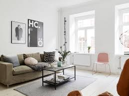 living room white scandinavian design nice rectangular glass