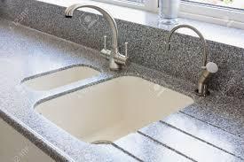 Granite Kitchen Sink Granite Kitchen Worktop And Ceramic Sunken Sink With Water