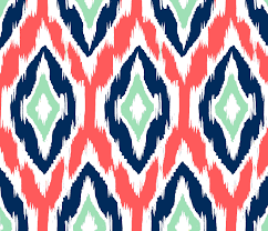 Mint And Coral Home Decor Ikat Fabric By The Yard Coral Navy And Mint By Gailwrightathome