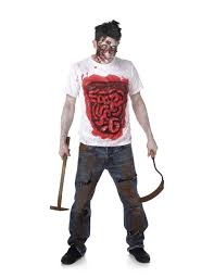 bloody intestines zombie t shirt for adults vegaoo