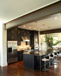 pot lights for kitchen flooring contemporary kitchen with stained red oak flooring and