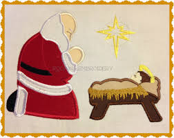 santa and baby jesus picture kneeling at manger clipart
