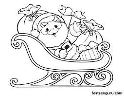 santa sleigh reindeer coloring