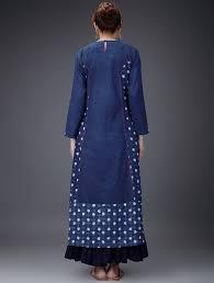 Design House Kurta Online Buy Indigo White Embroidered Dabu Printed Cotton Kurta Women