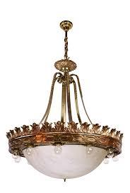 cast bronze fifteen light bowl chandelier neoclassical