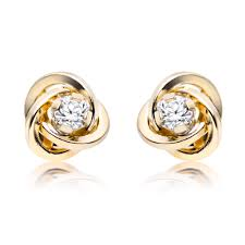 gold earrings uk 9ct gold cubic zirconia stud earrings 0000431 beaverbrooks the