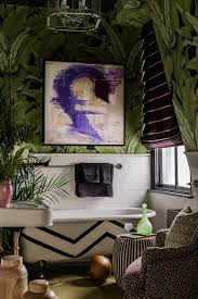make an iconic wall with floral palm and banana leaf wallpaper