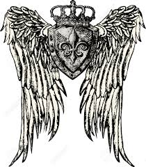 wing and crown tattoo design royalty free cliparts vectors and
