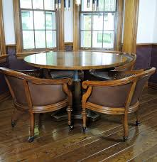 henredon pedestal table and four chairs set ebth