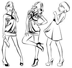 set of fashion pencil sketch vector 03 illustrations