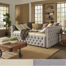 Queen Size Bed With Trundle Knightsbridge Full Size Tufted Nailhead Chesterfield Daybed And
