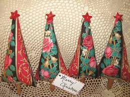 set of 4 handmade fabric tree ornaments bowl fillers
