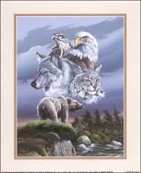 wolf eagle paper tole 3d kit size 8x10 19863