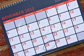 2013 calendar with thanksgiving circled