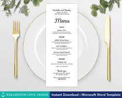 Bridal Shower Menu Template wedding menu template for microsoft word printable instant