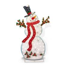 Ebay Christmas Lights Outdoor by Pre Lit Lighted 5 U0027 Outdoor Twinkle Metal Snowman Yard Christmas