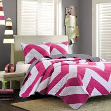 Girls Bedroom Quilt Sets Pink White Large Chevron Bedding Teen Twin Xl Full Queen