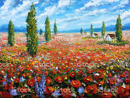 flower painting field of red poppies beautiful flowers landscape