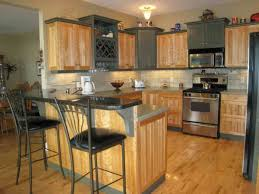 red kitchen wall color ideas with oak cabis in brown with white