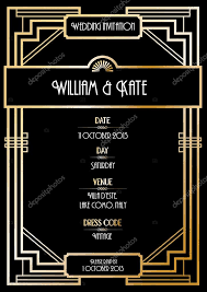 art deco wedding invitation card u2014 stock vector nglyeyee 44894287