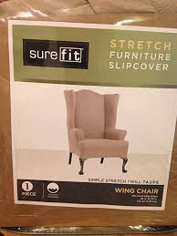 sure fit slipcovers wing chair amazon com sure fit stretch wing chair slipcover taupe kitchen