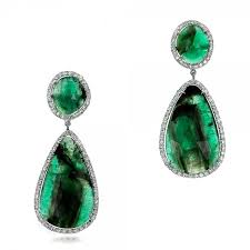 emerald earrings emerald slices and diamond drop earrings 100827