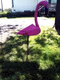 rustic metal pink flamingo yard lawn decoration