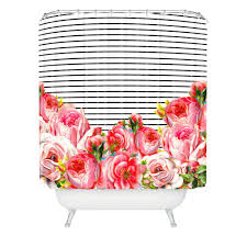 allyson johnson bold floral and stripes shower curtain deny