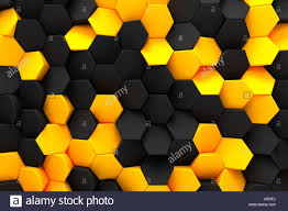 abstract hexagon black bee hive modern technology background 3d