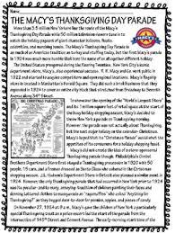 thanksgiving parade reading comprehension worksheet november