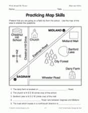 map reading practice practicing map skills printable geography 2nd 4th grade