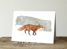 red fox in snow watercolor christmas card david scheirer watercolors