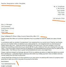 resignation letter letter of resignation from teaching position