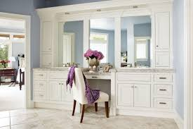 Bathroom Vanity Makeup Master Bath With White Cabinets And Vanity Seat Intended For