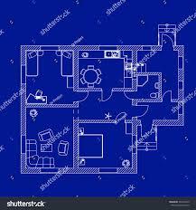 blueprint floor plan modern apartment vector stock vector