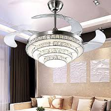LED Crystal Invisible Ceiling Fan Light Modern Dining Room Fan - Dining room ceiling fans