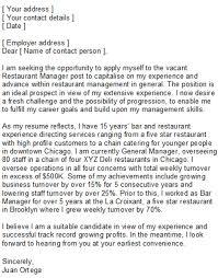 restaurant manager cover letter tips to write restaurant manager