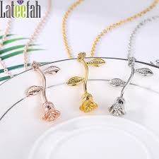 wholesale silver necklace pendants images Lateefah wholesale women rose flower pendant necklace silver gold jpg