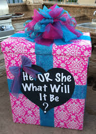 baby reveal party fill the box with pink or blue balloons to