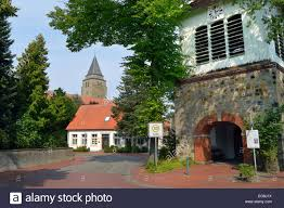 clock tower and church tower of a german village schapen in the