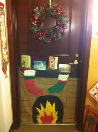 winter door decor fireplace and stockings winter holiday