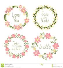 floral frame wreaths for wedding invitations stock vector image