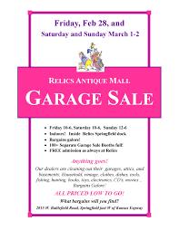 starts tomorrow relics antique mall garage sale feb 28 march