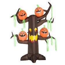 homcom 2 4m halloween inflatable ghost tree with pumpkins 6 led