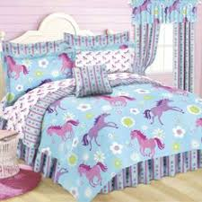 Girls Bed In A Bag by Purple U0026 Blue Girls Pony Horse Twin Comforter Sheets Sham 6 Piece