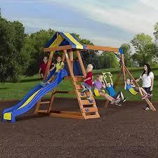 backyard wooden swing set kid play children game garden yard fun