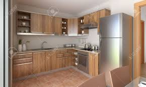 Interior Design Of A Kitchen Interior Design Of A Modern Kitchen In Tan And Wood This Is
