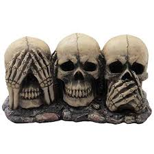 Medieval Decorations No Evil Skulls Figurine For Scary Halloween Decorations And Spooky Skeleton Statues And Medieval Fantasy Home Decor Sculptures And Gothic Gifts B00lad8ga2